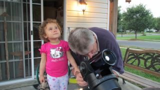 Evie and Pops star gazing.