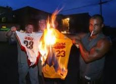 Fans burning jerseys of Lebron James