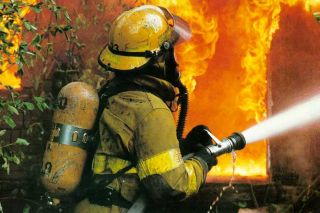 Fireman fighting blaze