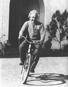 Einstein riding bicycle