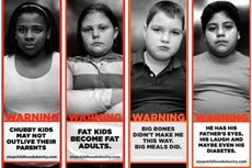 Strong4Life pictures of large children with warning labels