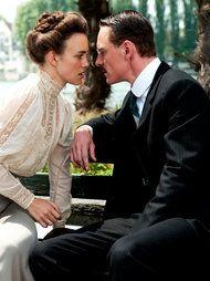 Speilrein (Keira Knightley) with Jung (Michael Fassbender)