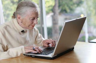 elderly woman on laptop