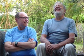 Old friends laughing
