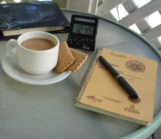 coffee, journal, notebook