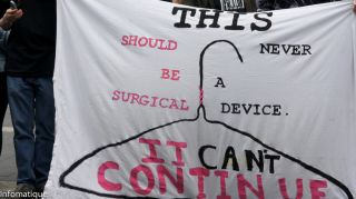 A banner at a protest in ireland.