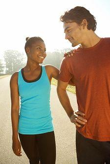 Man and woman racing partners.