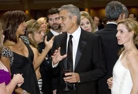 George Clooney in Hilton Lobby at D.C. Press dinner