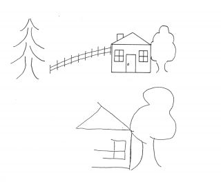 Drawing of scene and neglected copy of it.