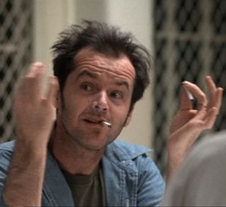Image of Jack Nicholson as McMurphy.