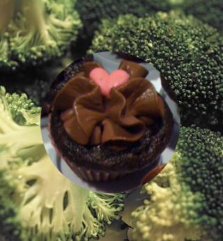 Image of a cupcake and broccoli