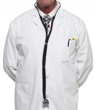A doctor in white lab coat with stethoscope