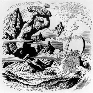 Polyphemus hurling a boulder at Odysseus' ship