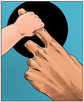 illustration showing a baby's hand grasping an adult's finger