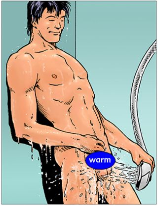illustration shows man in shower warming his scrotum with spray from shower head