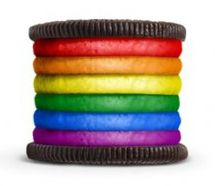 Oreo cookie with rainbow colored filling