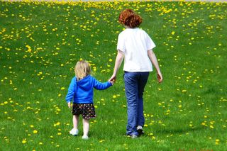 Two sisters walking through a lawn sprinkled with dandelions/US Nessie/CC BY SA-3.0