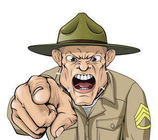 Cartoon angry army drill sergeant shouting | by KoiQuestion, labeled for reuse, Flickr.com