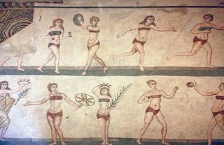 """'Bikini girls' mosaic at Villa del Casale in Piazza Armerina, Sicily""/Kenton Greening/Wikimedia Commons"