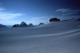 Courtesy of Bill Atkinson, 2017, Conrad Glacier in 1978, British Columbia's Vowell peak.