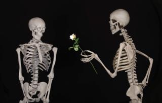 skeleton handing rose to another skeleton (pixabay)