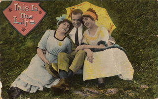 """Postcard """"This is the Life"""", labeled for reuse, Wikimedia Commons"""