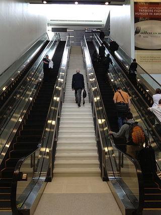 """Escalator and Stairs."" Image by Karen Mardahl, wikimedia, CC2.0"