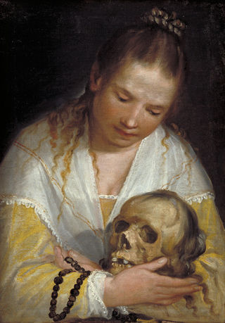"""""""Young Woman Contemplating a Skull,"""" by Alessandro Casolani, Wikimedia, Public Domain"""
