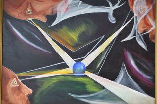 Mindfulness, original oil, Frank John Ninivaggi MD, 1965