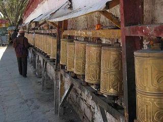 """Prayer wheels in Samye"" via Wikimedia Commons"