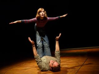 Sydney Lucas and Michael Cerveris in Fun Home.  Production Photo by Joan Marcus and Jenny Anderson