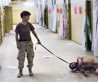 This image is in the public domain in the United States because it is ineligible for copyright. Pictures taken by U.S. military personnel as part of that person's official duties are ineligible for copyright in the United States. The photographers of the Abu Ghraib prisoner abuse photos have asserted this was the case under oath