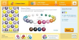 M&M's online customization of the candy's color selection and printed text