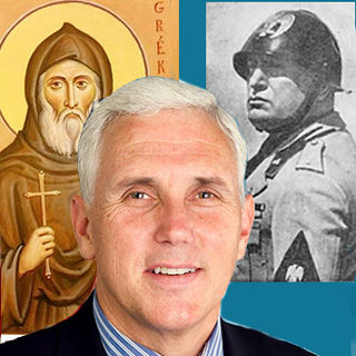Pence official congressional photo (public domain), Mussolini Poster (public domain) Saint  Nicola Greco (Wikimedia commons)