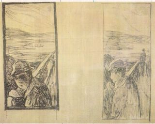 FIGURE 4 and 5. Edvard Munch, Despair c.1892 (both). Pen and ink. Munch Museum, Oslo.  The Munch Museum/ Reproduced with permission.