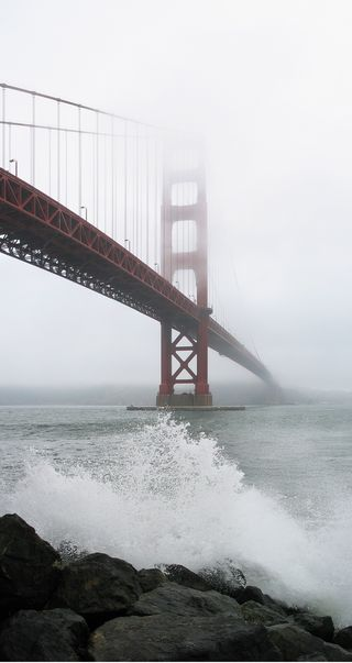 """""""The Golden Gate Bridge as Seen from Fort Point on a Foggy Day"""" by Daniel Schwen / Wikimedia Commons / CC BY 2.5"""