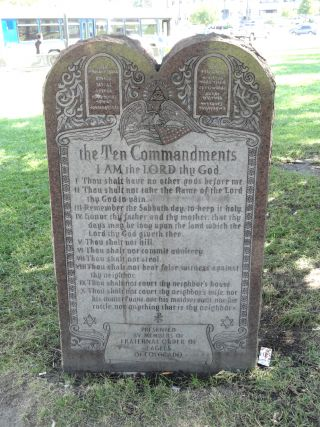 """Ten Commandments - Civic Center Park - DSC01371"" by Daderot--Wikimedia Commons"