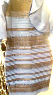 White and gold dress color test