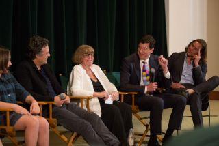 Maya Forbes (not shown), Imogene Wolodarsky, Mark Ruffalo, Hara Marano, John Gartner, Greg Dillon (photo by Devra Berkowitz)