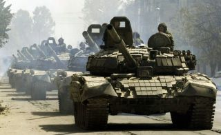 Russian tanks rolling into Ukraine