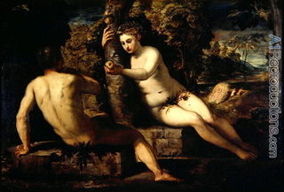 Temptation of Adam and Eve/ Tintoretti/A1 Reproductions