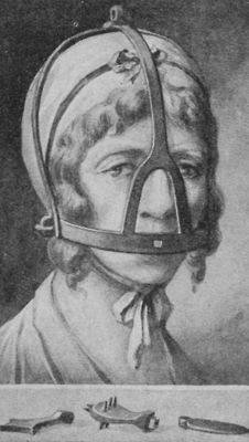 A Woman Wearing a Scold's Bridle