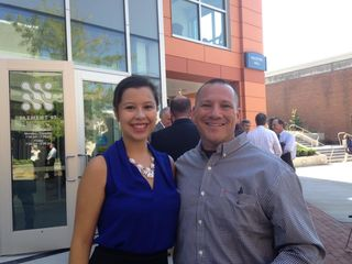 Glenn Geher; with Vania Rolon at ribbon cutting of Wooster Hall
