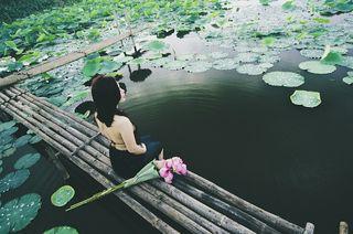 https://pixabay.com/en/woman-sitting-pond-asia-lotus-422708/