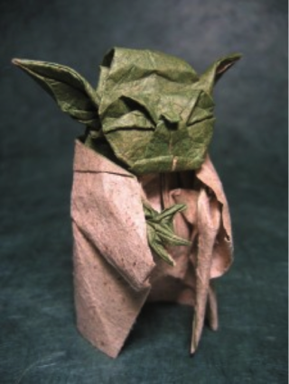 (c) 2007 Phillip West, used with permission. Yoda made of sandpaper and tissue.
