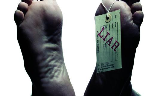 Cadaver feet with Liar tag