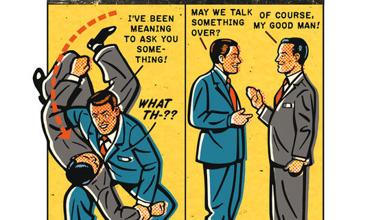 Image: Two men display how to talk things out
