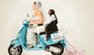 Image: Human bride on scooter with chimp husband - just married