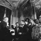 Lyndon Johnson meeting with Martin Luther King, Jr after signing the Voting Rights Act.