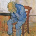 The image of van Gogh's sad old man is in the public domain, according to Wikipedia.